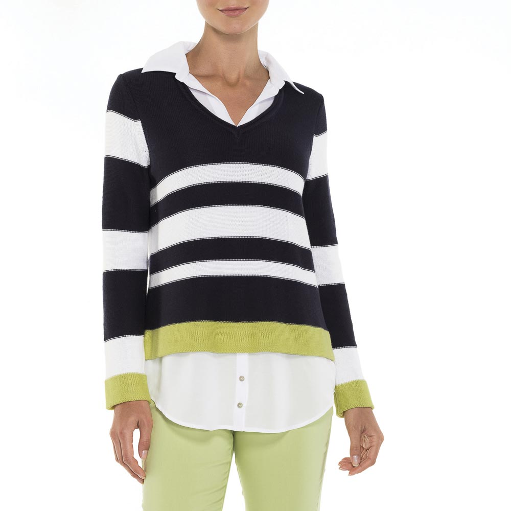Alison Sheri Navy White Combination Sweater