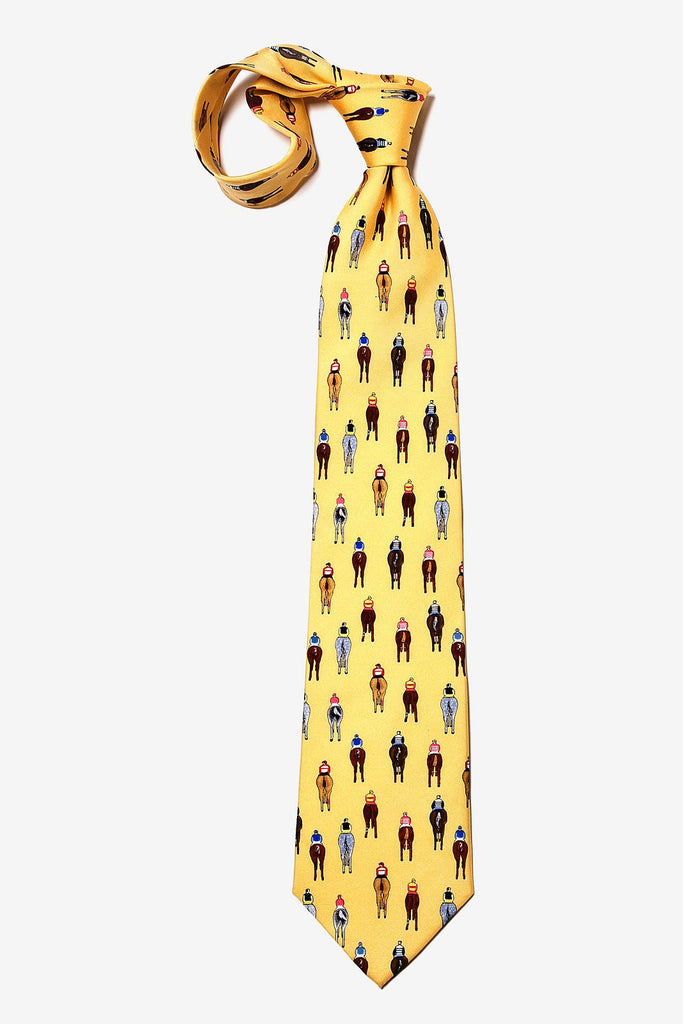 Alynn Men's Silk Tie - Bringing Up The Rear - Yellow - Saratoga Saddlery & International Boutiques