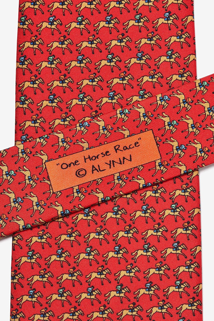 Alynn Men's Silk Tie - One Horse Race Red