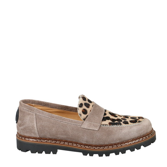 Ammann Interlaken Shoe in Taupe Suede and Leopard Calf Hair