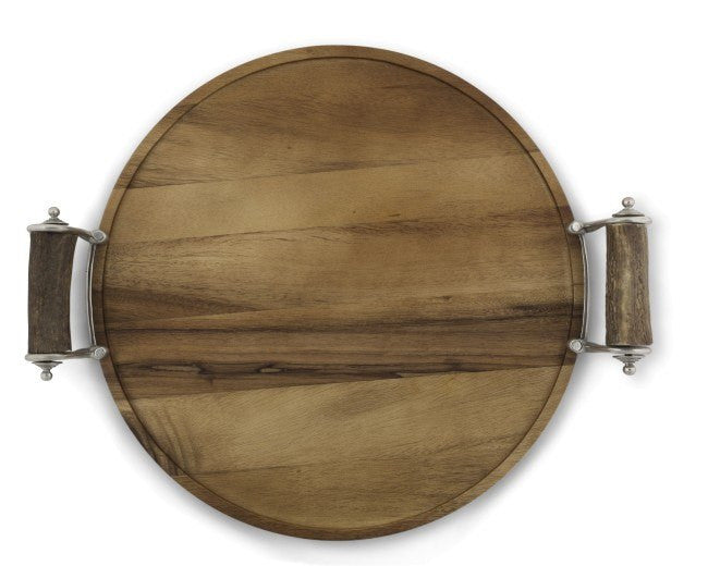 Vagabond House Antler Handle Wood Serving Tray
