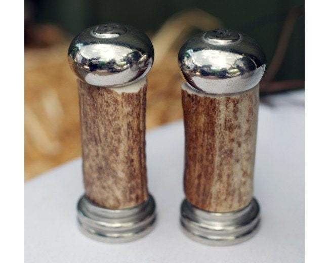 Vagabond House Antler with Pewter Salt & Pepper Set