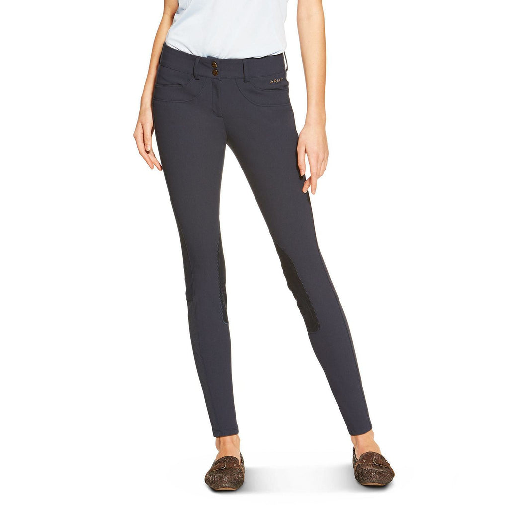Ariat Olympia Women's Low Rise FZ Kneepatch Breeches in Navy - Saratoga Saddlery