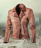 Artico Women's Leather Moto Jacket in Cognac