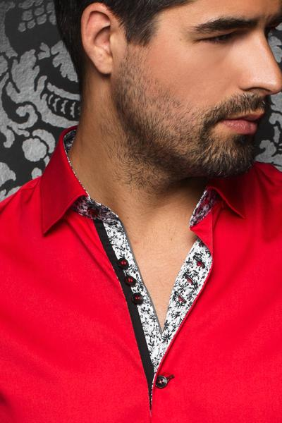 Au Noir Alonso Men's Dress Shirt in Red