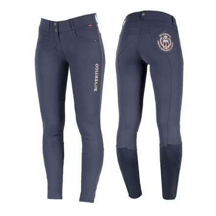 B Vertigo Women's Kimberly Knee Patch Breeches in Navy