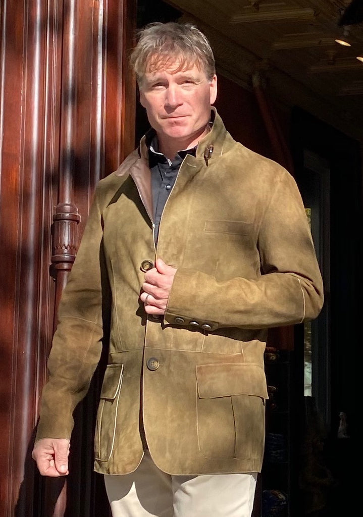 Bergen of Norway Men's Hans Lambskin Jacket D0B800 in Olive - Saratoga Saddlery & International Boutiques