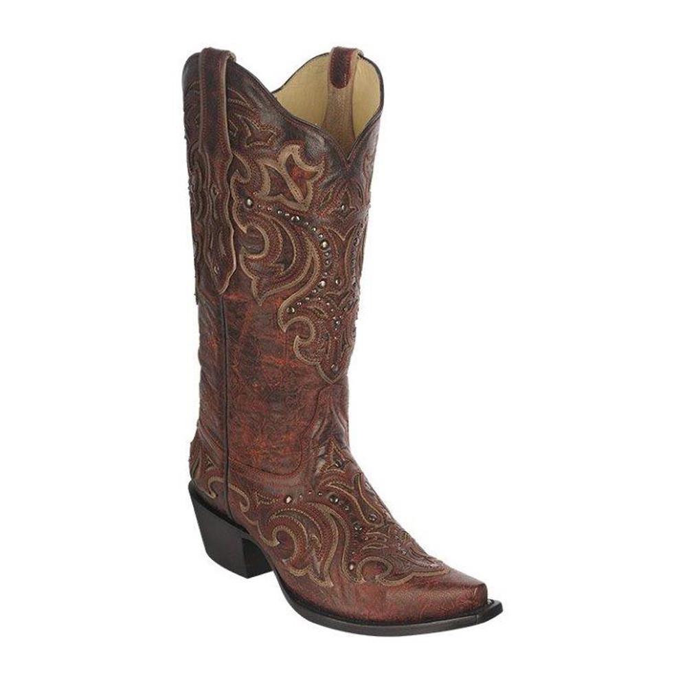 Corral Women's Red/Tan Inlay with Studs G1251 - Saratoga Saddlery & International Boutiques