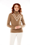 M. Miller Vee Cashmere Half Zip White Vstripe Oatmeal Cashmere CS37 - Saratoga Saddlery & International Boutiques