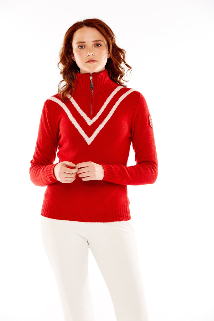 M. Miller Vee Cashmere Half Zip White Vstripe Red Cashmere CS37 - Saratoga Saddlery & International Boutiques