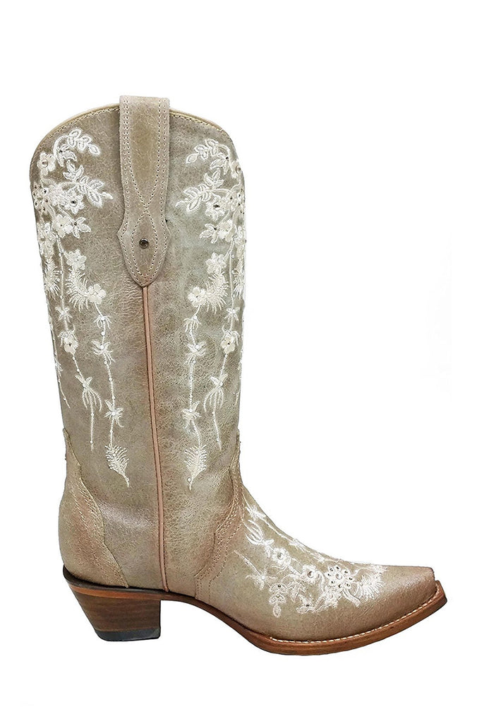 Corral Bone Floral Embroidered Swarovski Crystal Boots C3178