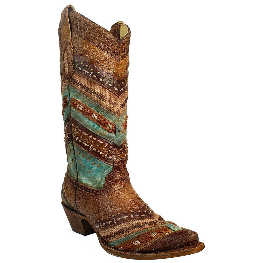 Corral Women's Brown and Turquoise Embroidered Boot A3381