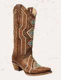 Corral Women's Brown Ethnic Embroidered and Studded Boot E1178