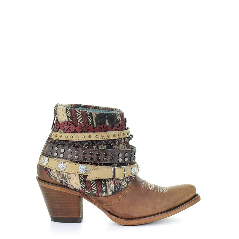 Corral Women's Lorena Woven and Studded Harness Ankle Boot E1386