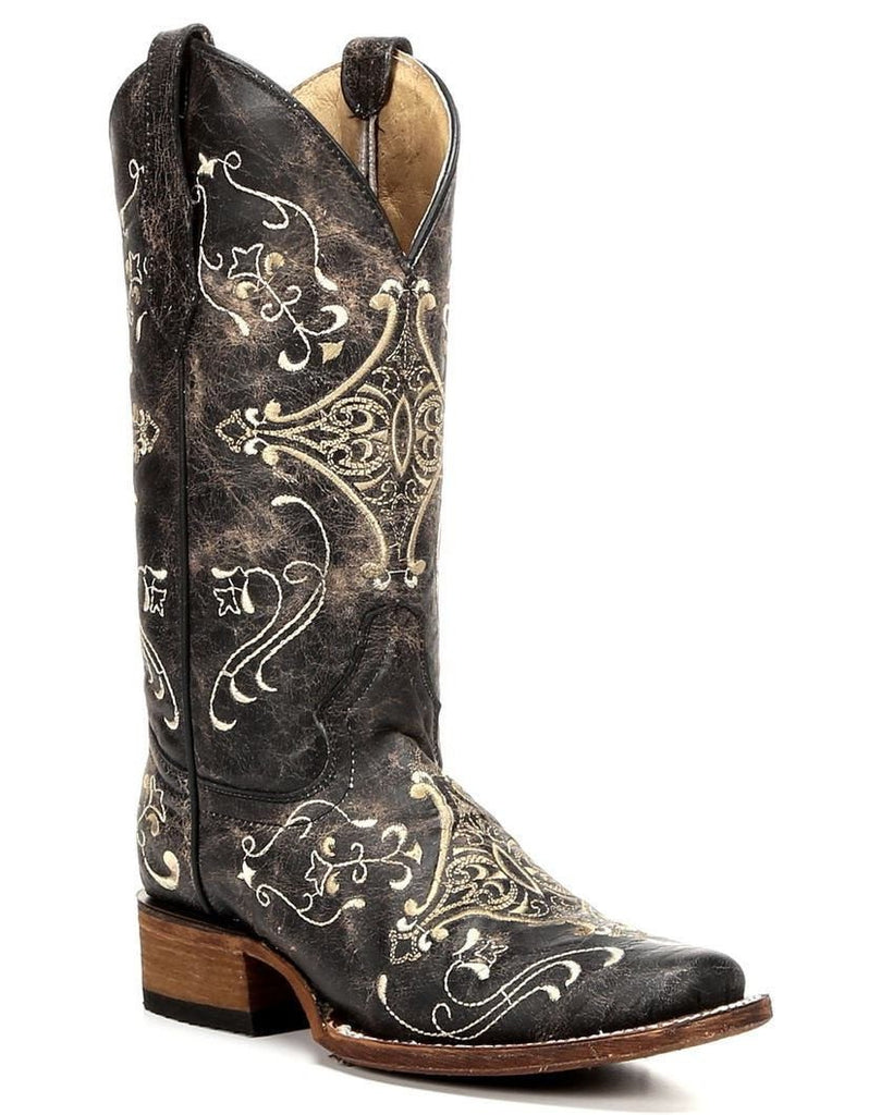 Corral Women's Brown Crackle Embroidered Square Toe Boot L5078
