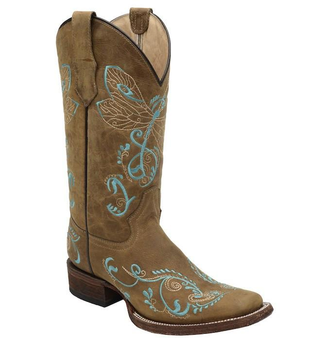 Corral Women's Dragonfly Embroidered Square Toe Boot L5123 - Saratoga Saddlery & International Boutiques