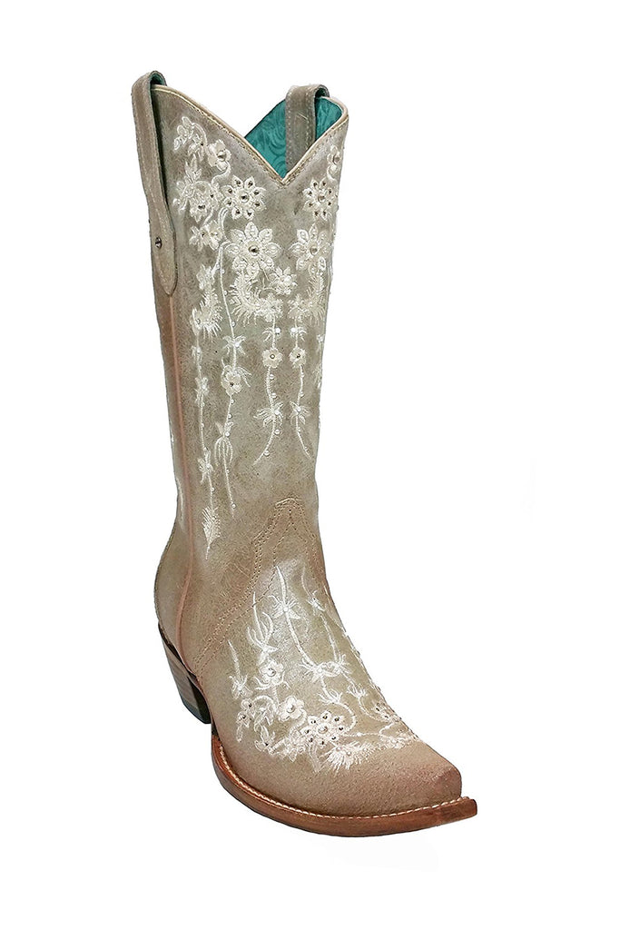 Corral Wedding Collection Women's Bone Floral Embroidery & Swarovski Crystal Boot - C3178