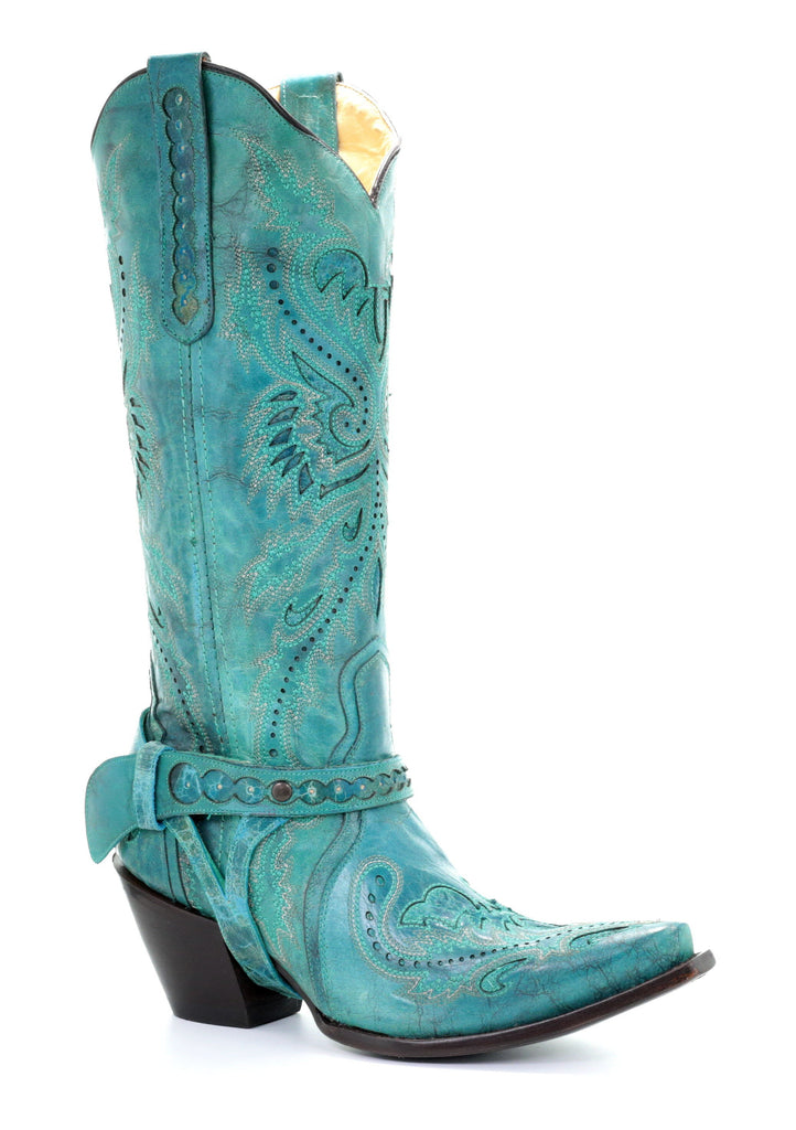 Corral Women's Turquoise Inlay & Embroidery & Harness boot G1409 - Saratoga Saddlery & International Boutiques