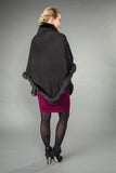 Dana Stein Angora Rabbit & Wool Fox Trimmed Triangle Cape