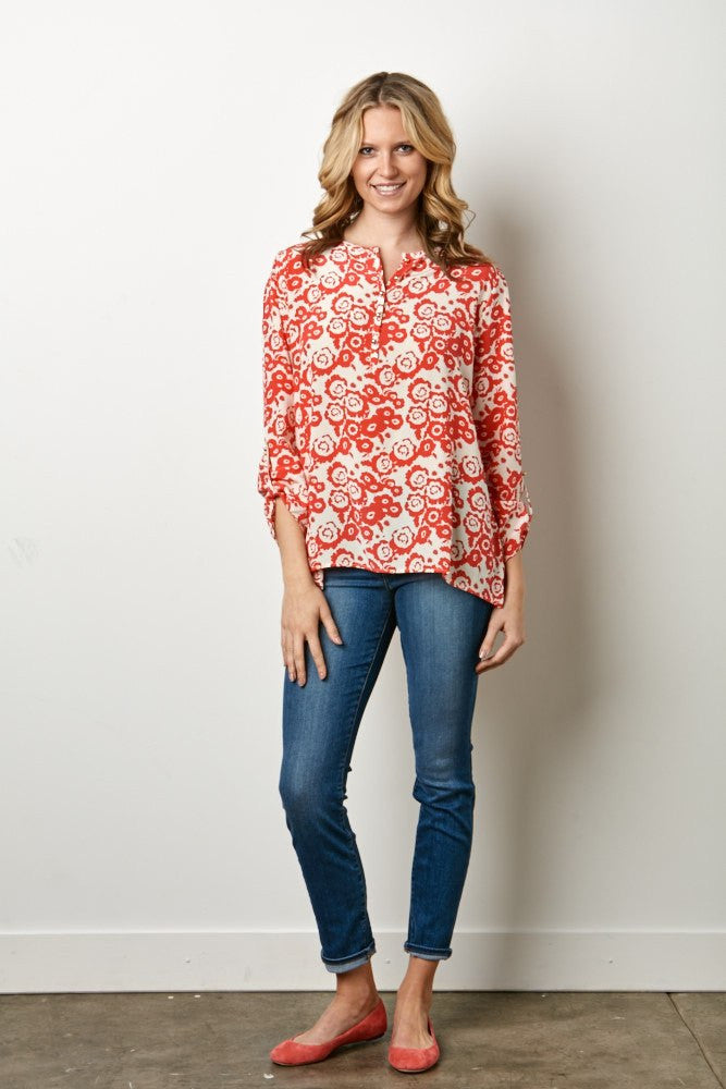 IsleField Farah Blouse in Poppy Coral