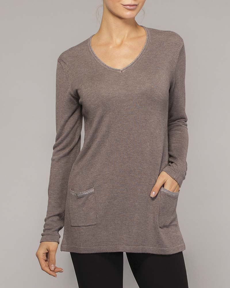 Elena Wang Taupe Long Sleeve Pocket Top