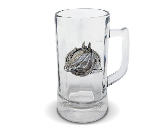 Equestrian Horseshoe Glass Beer Stein Vagabond House