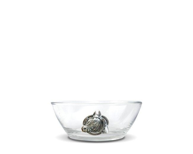Equestrian Horseshoe Glass Dip Nut Bowl Vagabond House