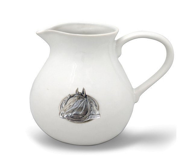 Vagabond House Equestrian Horseshoe Stoneware Pitcher - Saratoga Saddlery & International Boutiques