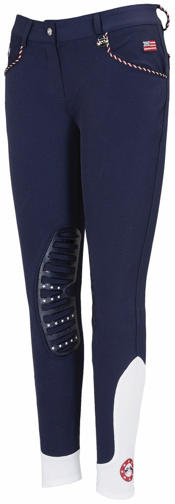 Equine Couture Ladies Centennial Knee Patch Breeches Navy