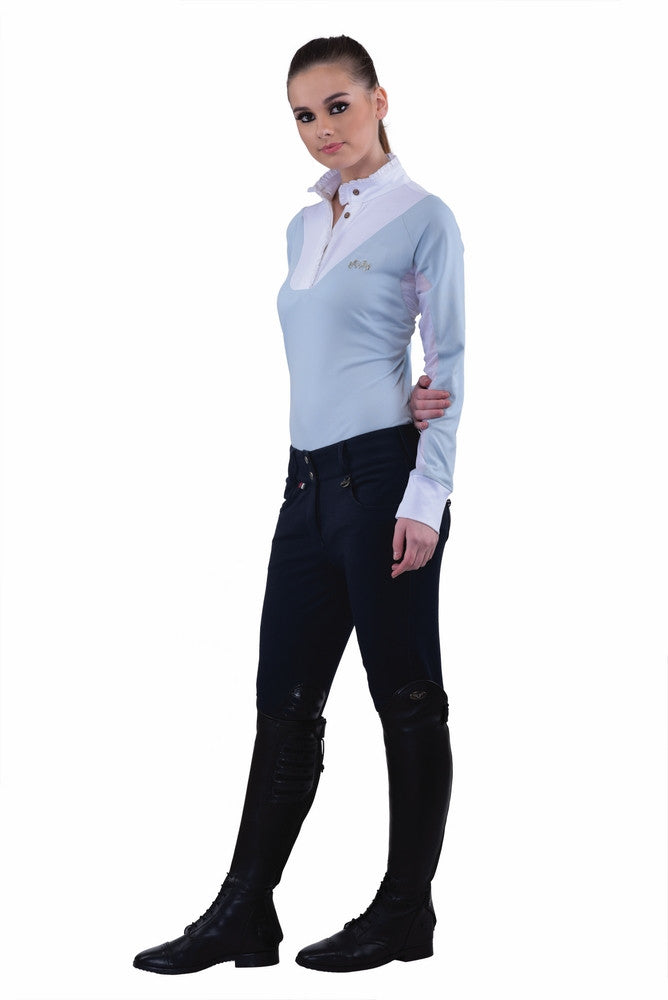 Equine Couture Ladies Sophie Knee Patch Breeches Denim Blue