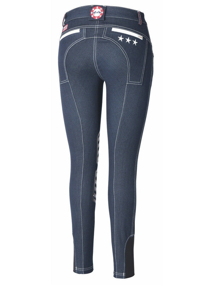 Equine Couture Ladies Stars & Stripes Navy Denim Breeches - Saratoga Saddlery & International Boutiques