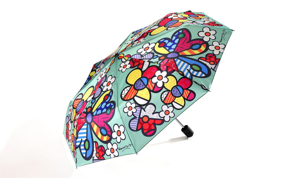Flowers and Butterflies Umbrella by Artist Romero Britto