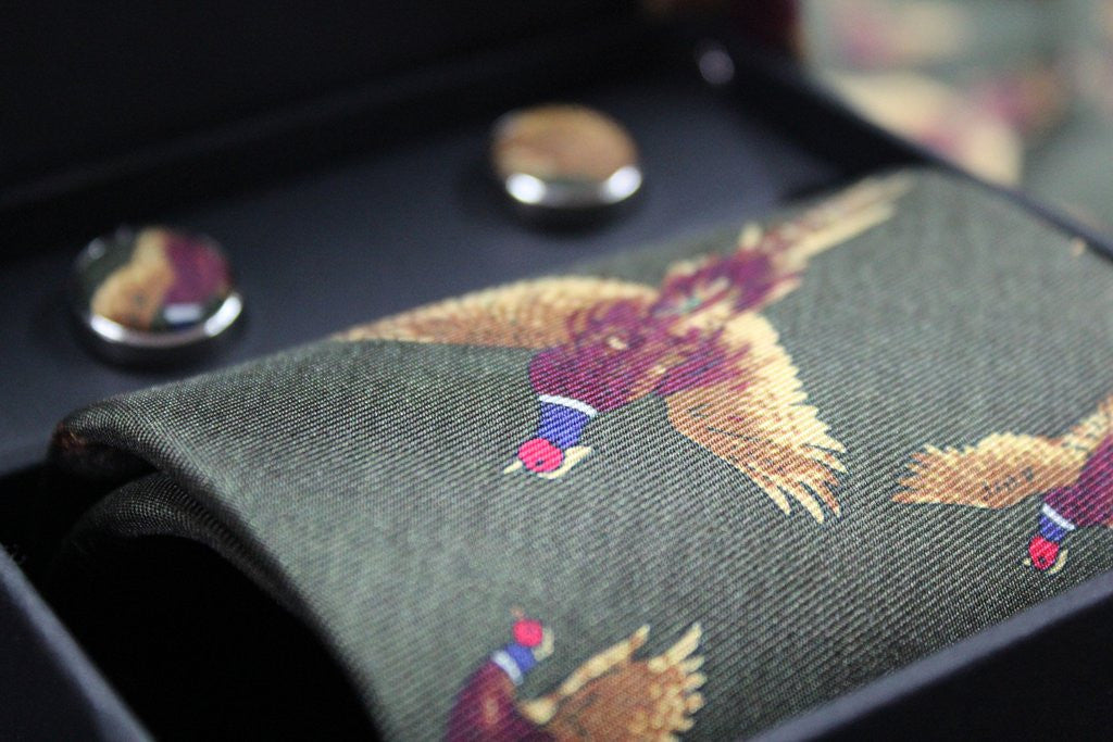 Oxford Blue Silk Tie and Cufflink Boxset