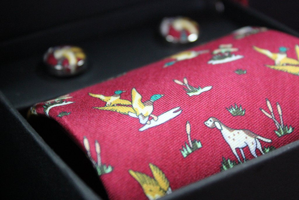 Oxford Red Silk Tie and Cufflinks Box set