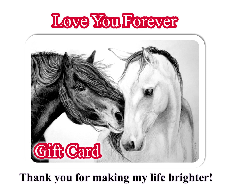 Gift Card Love you forever Anniversary Gift Birthday Gift for Horse lover Equestrian Gift Horse lover gift