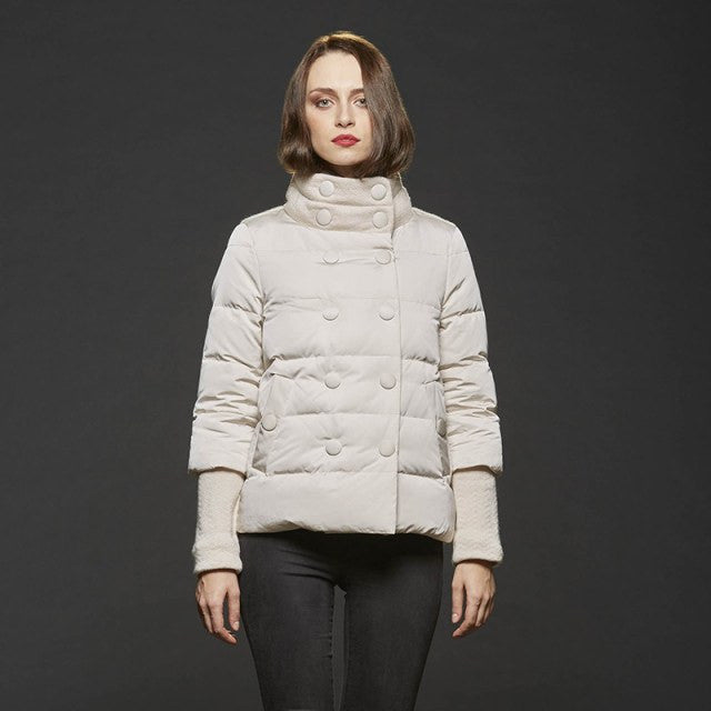 Gimo Women's Down Winter Jacket in Cream - Closeout Special! (FINAL SALE)