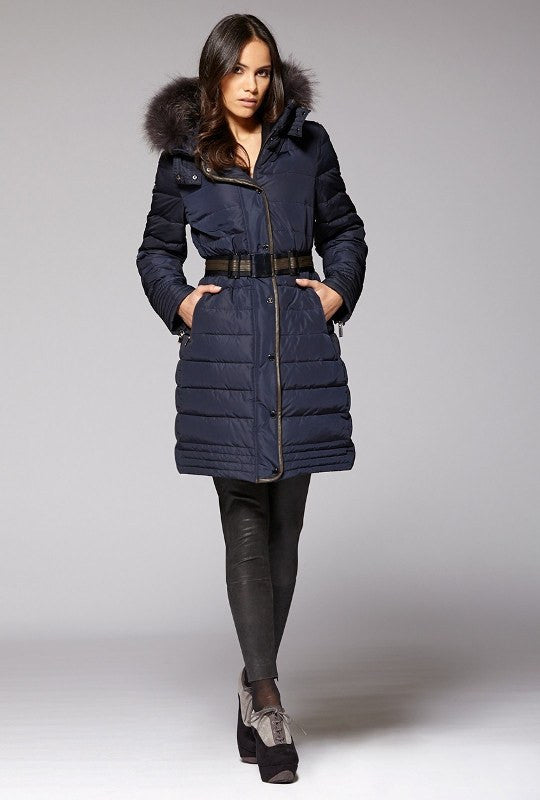 Gimo 3D460 Women's Belted Down Jacket in Navy