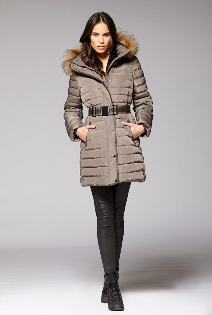 Gimo 3D460 Women's Belted Down Jacket in Taupe - ON SALE!
