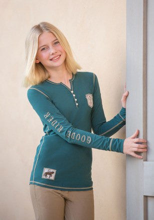 Goode Rider Girls Goode Henley Shirt in Charcoal