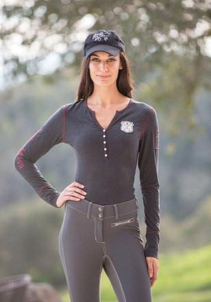 Goode Rider Women's Good Henley Shirt in Charcoal - Saratoga Saddlery & International Boutiques