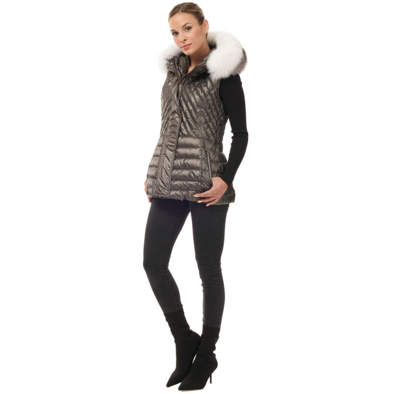 Gorski Après-Ski Chevron Stitch Vest w/Fox Trim Hood - Saratoga Saddlery & International Boutiques