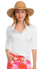 Gretchen Scott Ruffneck Top 3/4 Sleeves in White - Saratoga Saddlery & International Boutiques