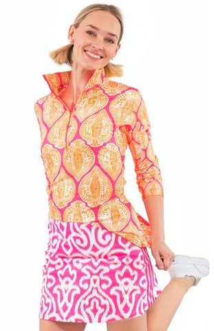 Gretchen Scott Ruffneck Top 3/4 Sleeves in Orange