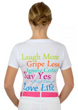 Gretchen Scott Tee Shirt Short Sleeve White Laugh More COTEV - Saratoga Saddlery & International Boutiques