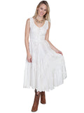 Scully Full Length Lace-Up Front Sleeveless Dress in Ivory HC118