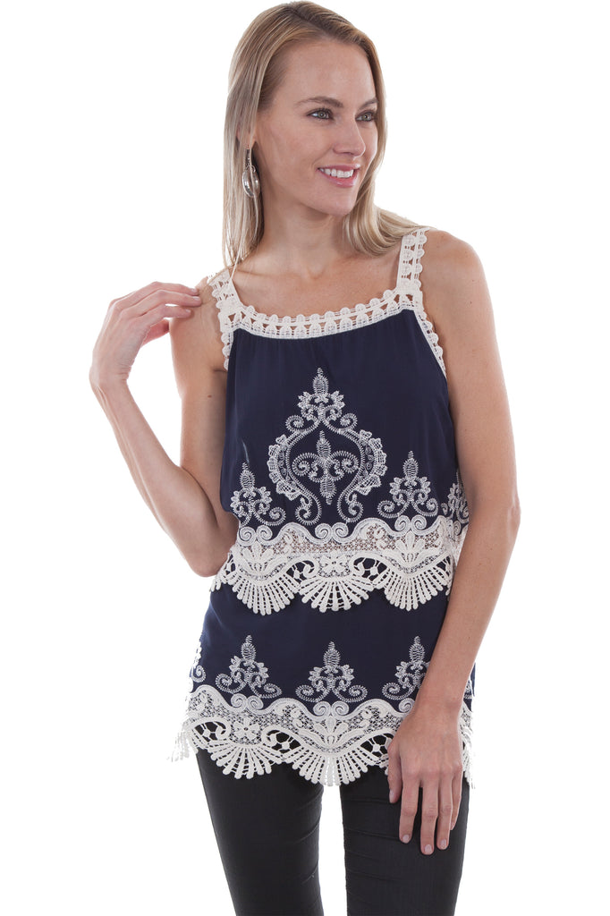 Scully Crochet Lace Tank Top in Navy HC463