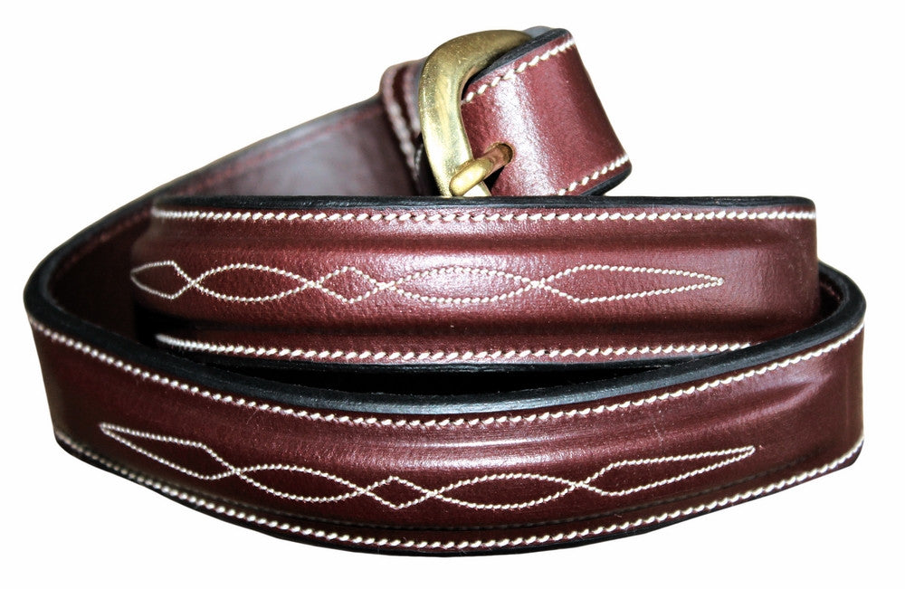 Equine Couture Henri De Rivel Fancy brown Leather Belt - 1.25""