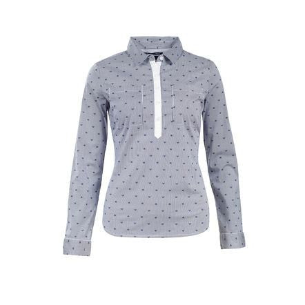 Horze Crescendo Women's Rachel Cotton Shirt in Navy/White