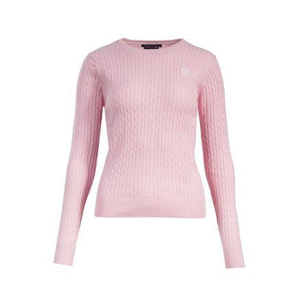 Horze Crescendo Women's Reanna Cable Knit Pullover Sweater in Pink