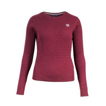 Horze Crescendo Women's Reanna Cable Knit Pullover Sweater in Port Royale